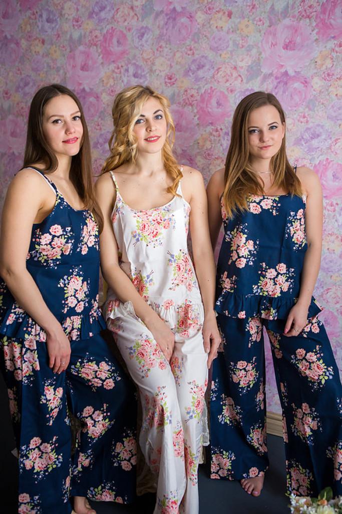 Frilly Style PJs in Faded Flowers Pattern_long