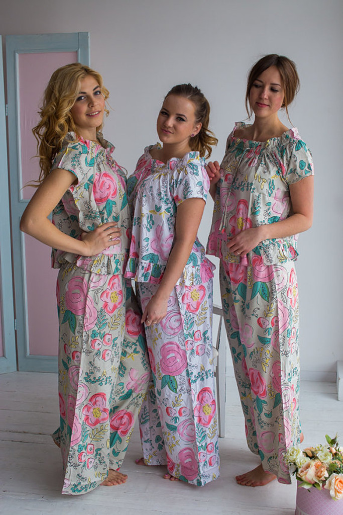 Frilly Neck Style PJs in Whimsical Giggle Pattern_long