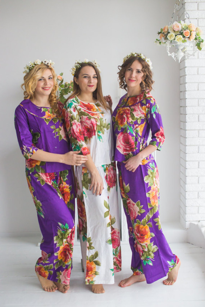 Boat Neckline Style PJs in Large Floral Blossom Pattern_long