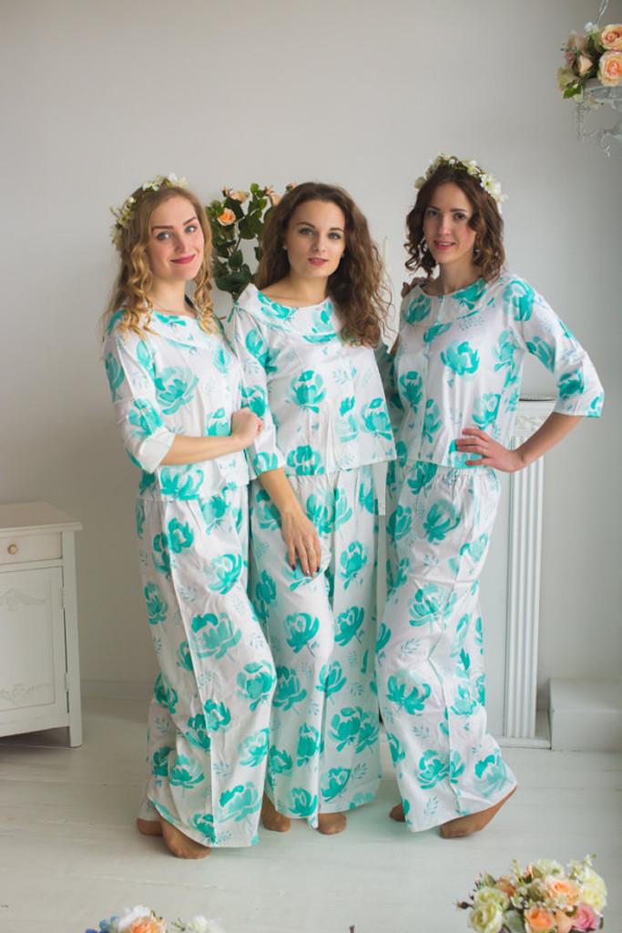 Boat Neckline Style PJs in Blushing Flowers Pattern_long