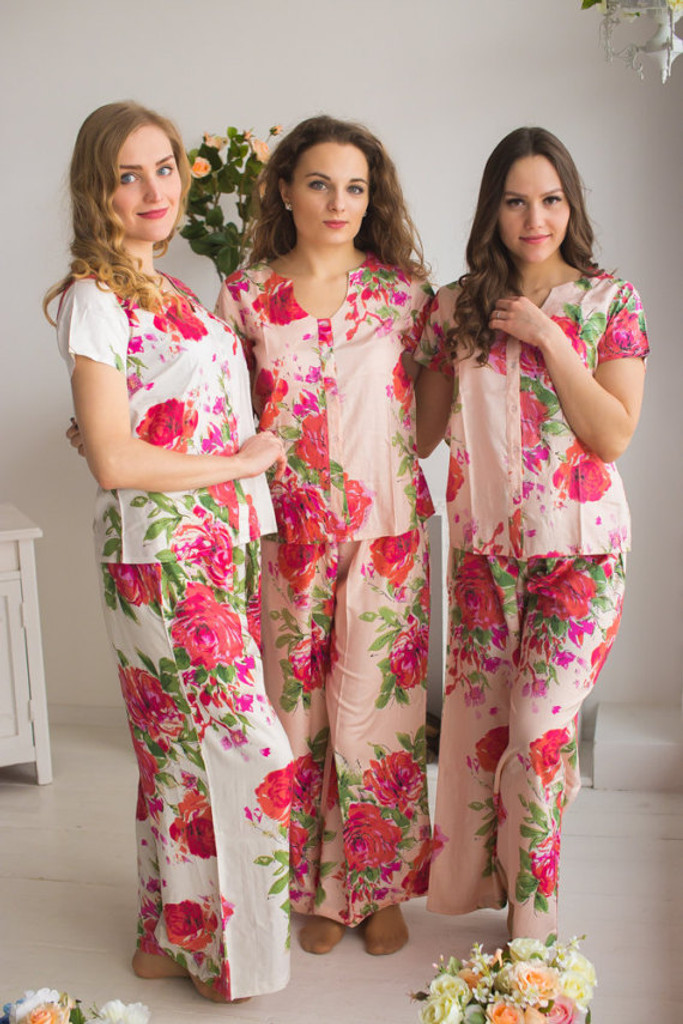 U-shaped neckline Style PJs in Fuchsia Large Floral Blossom Pattern_long