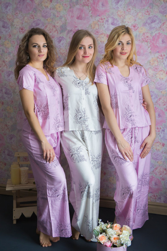 U-shaped neckline Style PJs in Floral Sketch Pattern_long
