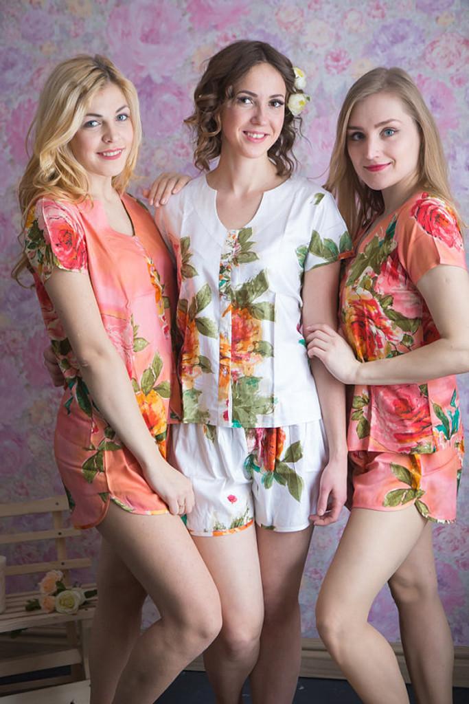 U-shaped neckline Style PJs in Large Floral Blossom Pattern