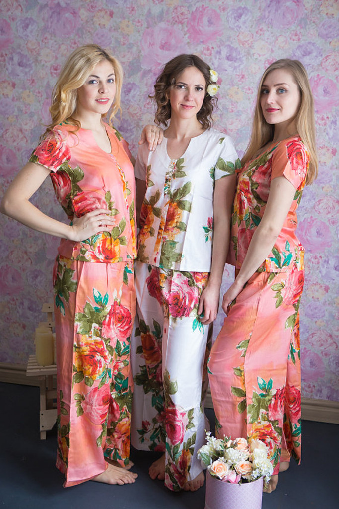 U-shaped neckline Style PJs in Large Floral Blossom Pattern_long