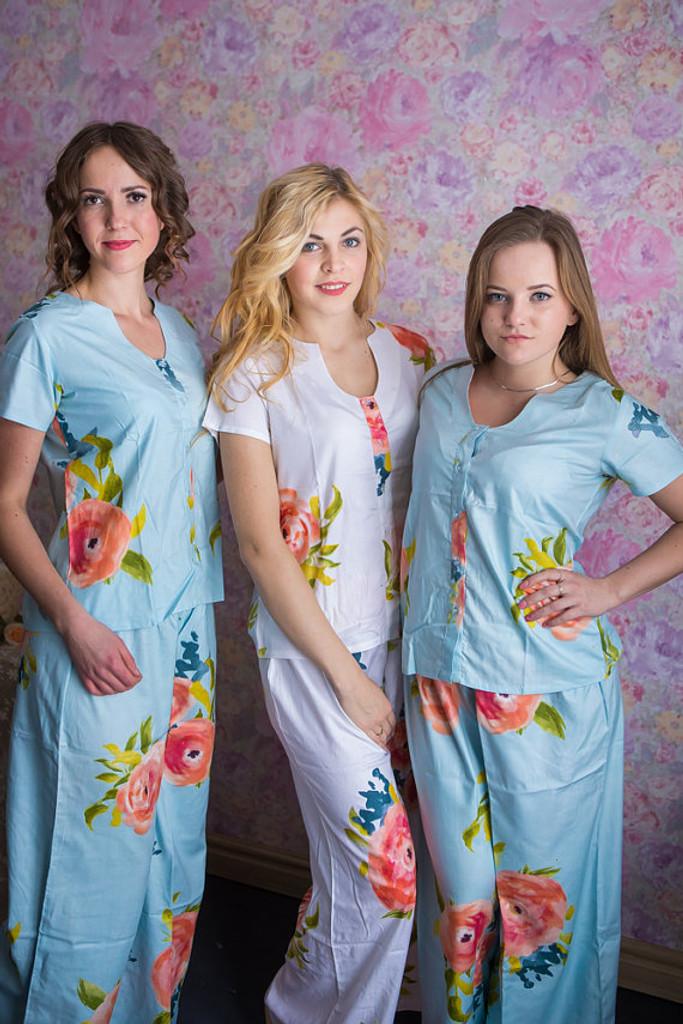 U-shaped neckline PJs in Smiling Blooms Pattern_long