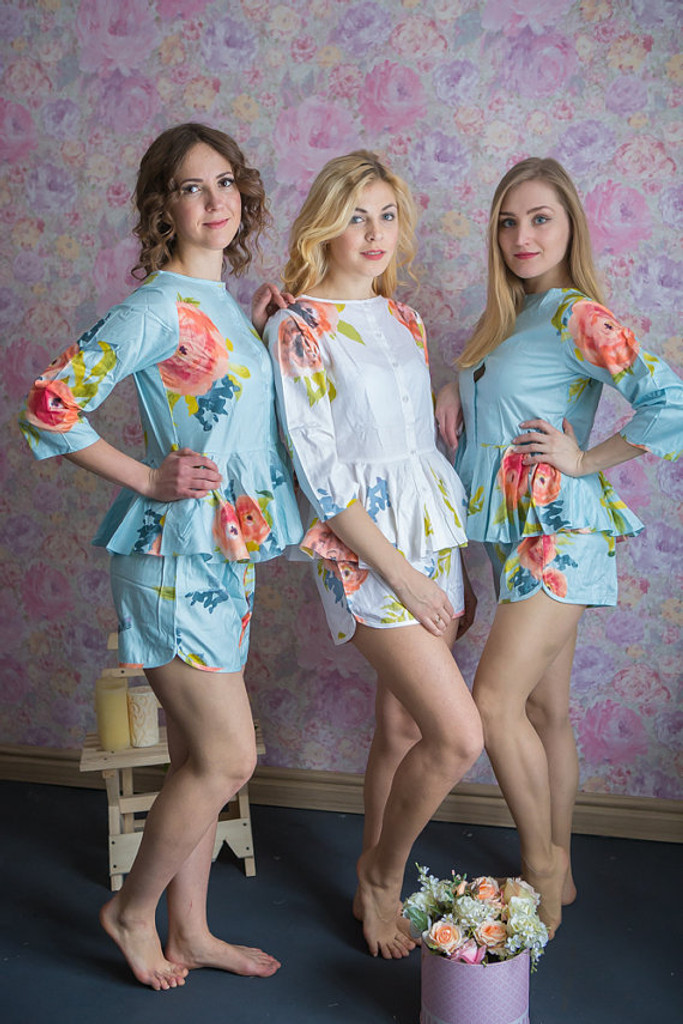 Peplum Style PJs in Smiling Blooms Pattern