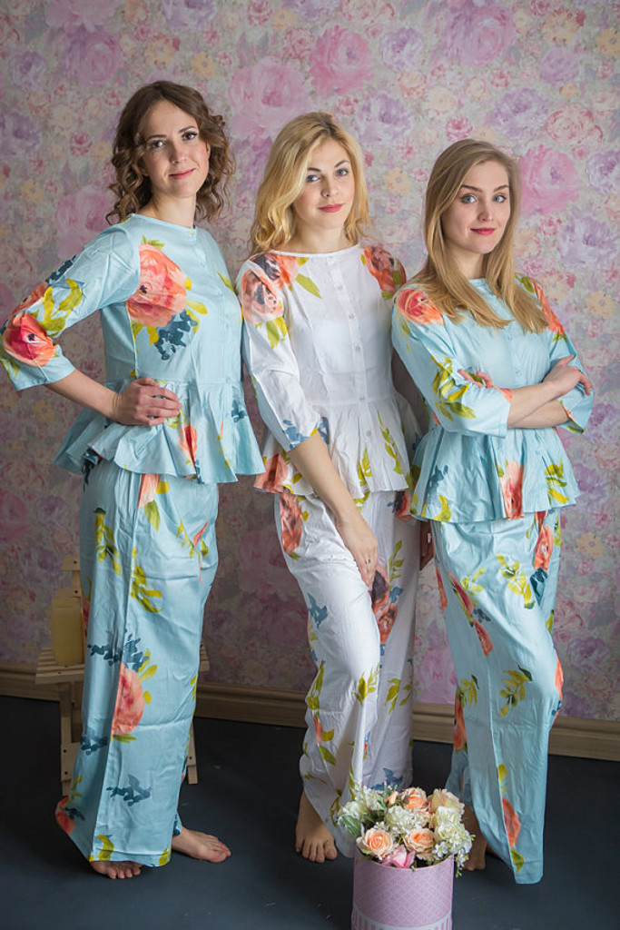 Peplum Style PJs in Smiling Blooms Pattern_long