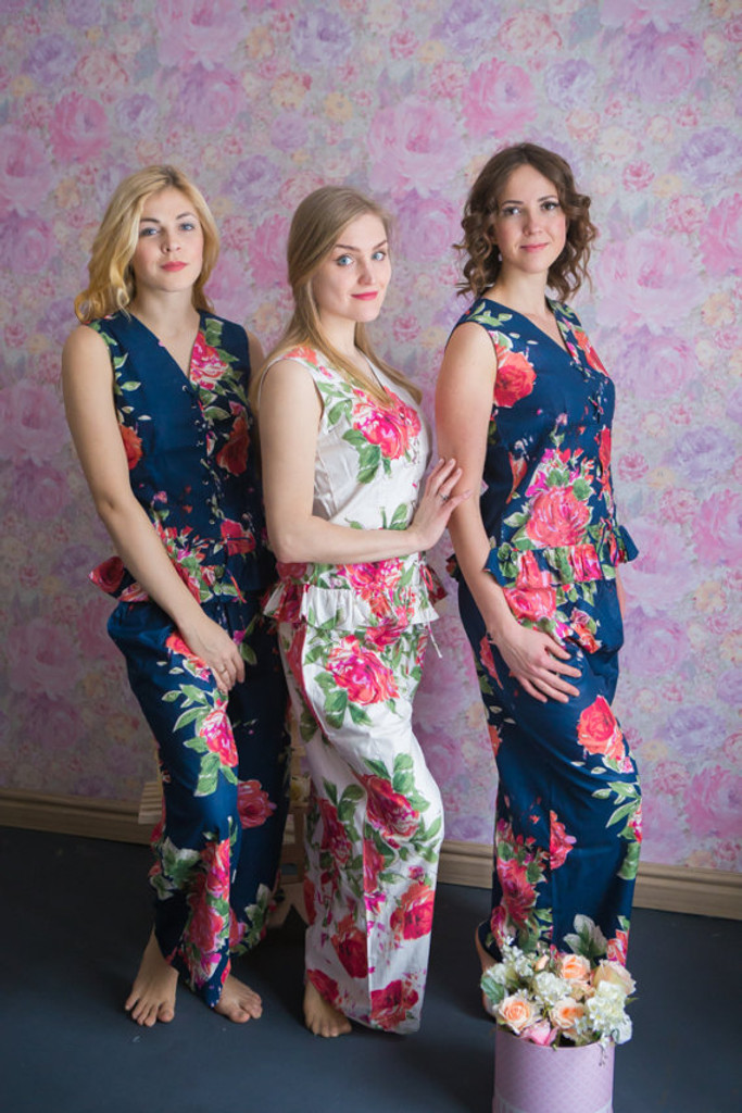 Corset Style PJs in Fuchsia Large Floral Blossom Pattern_long