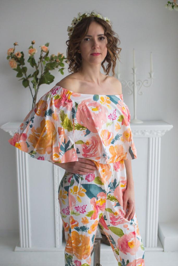 Cape Style Bridesmaids Jumpsuit in Her Petal Garden Pattern