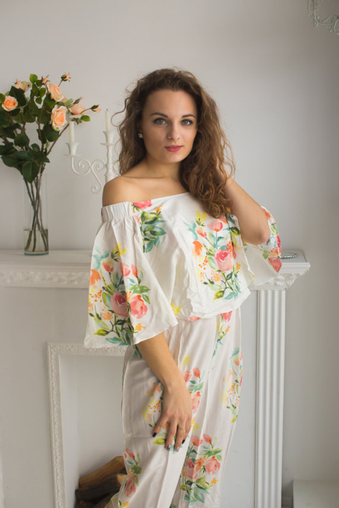 Cape Style Bridesmaids Jumpsuit in Angel Song Pattern