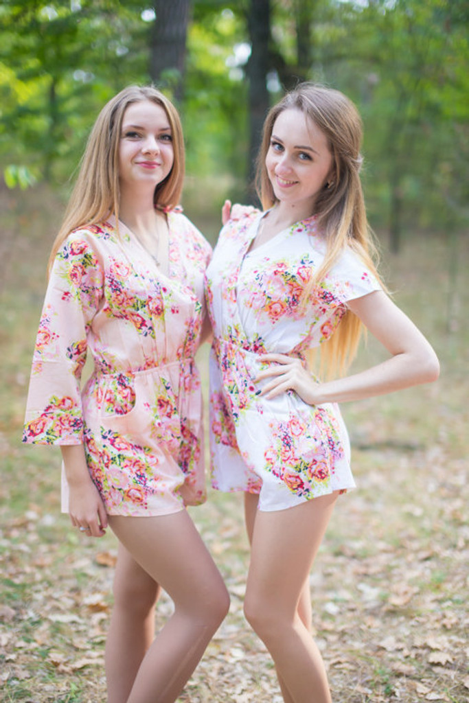 Pink and White Color Bridesmaid Rompers in Floral Posy Pattern