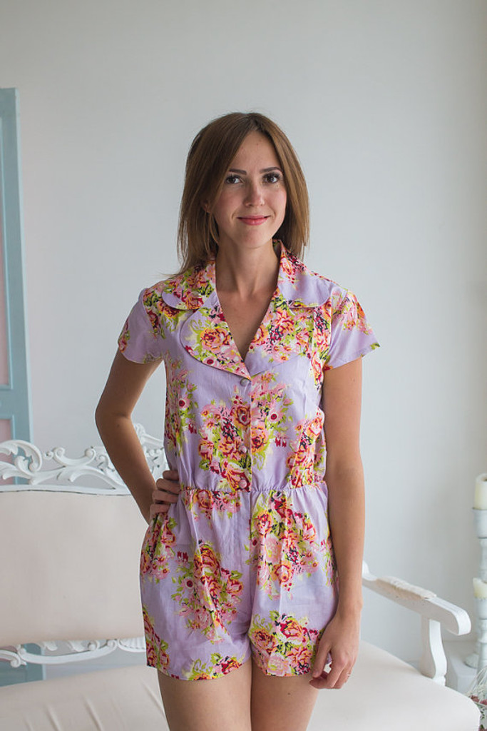 Collared Style Bridesmaids Romper in floral posy pattern