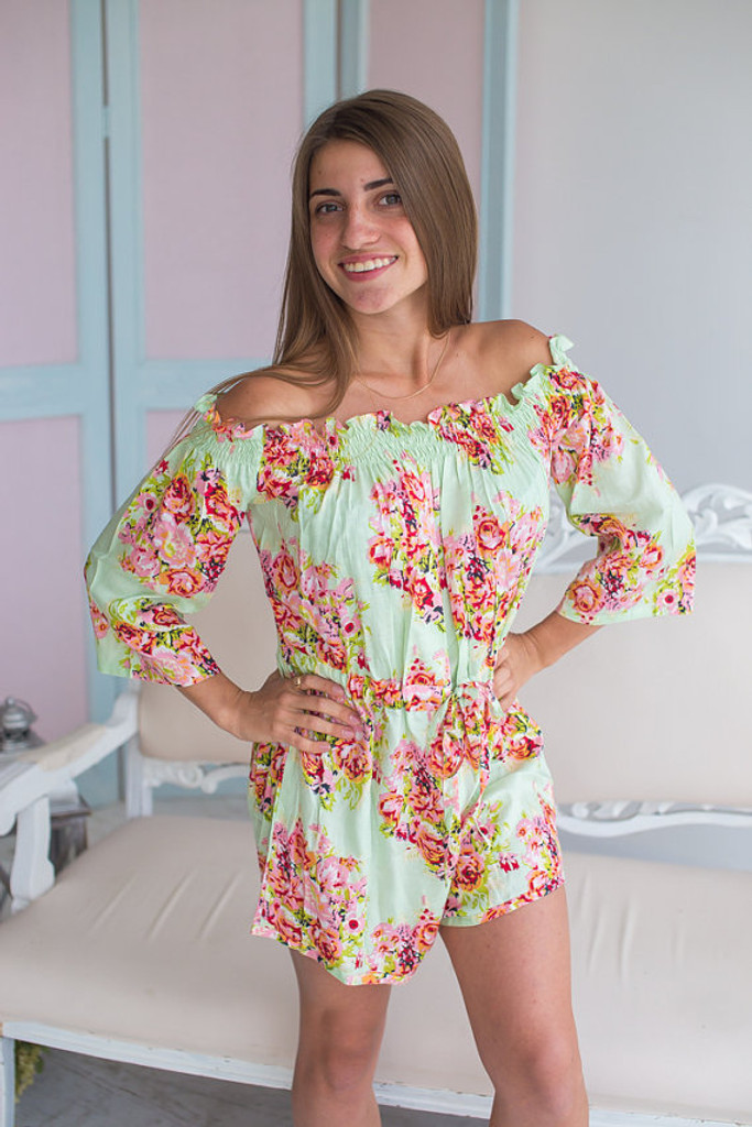 Off Shoulder Style Bridesmaids Rompers in Large Floral Pattern