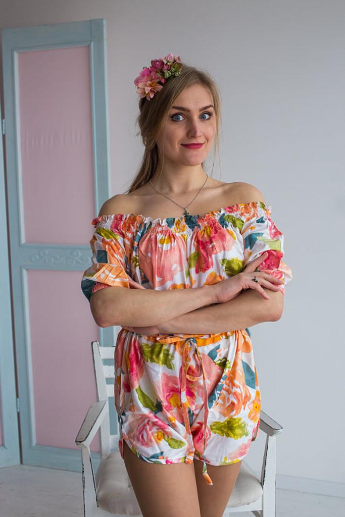 Off shoulder Style Bridesmaids Rompers in Her Petal Garden Pattern