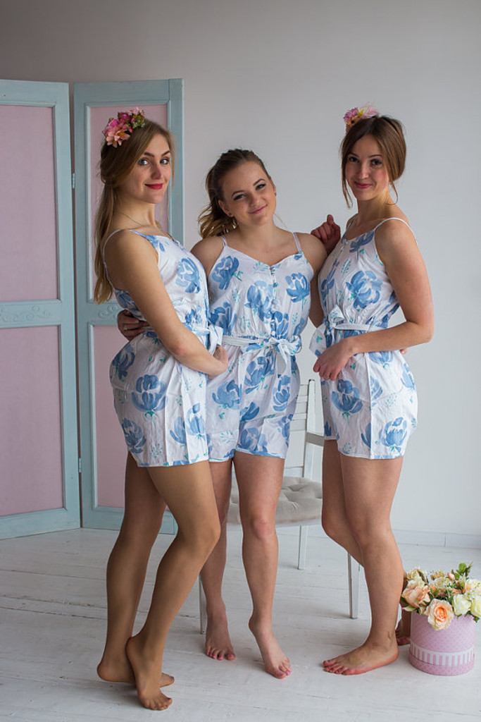 Belted Slip Style Bridesmaids Rompers in Dusty Blue Blushing Flowers Pattern