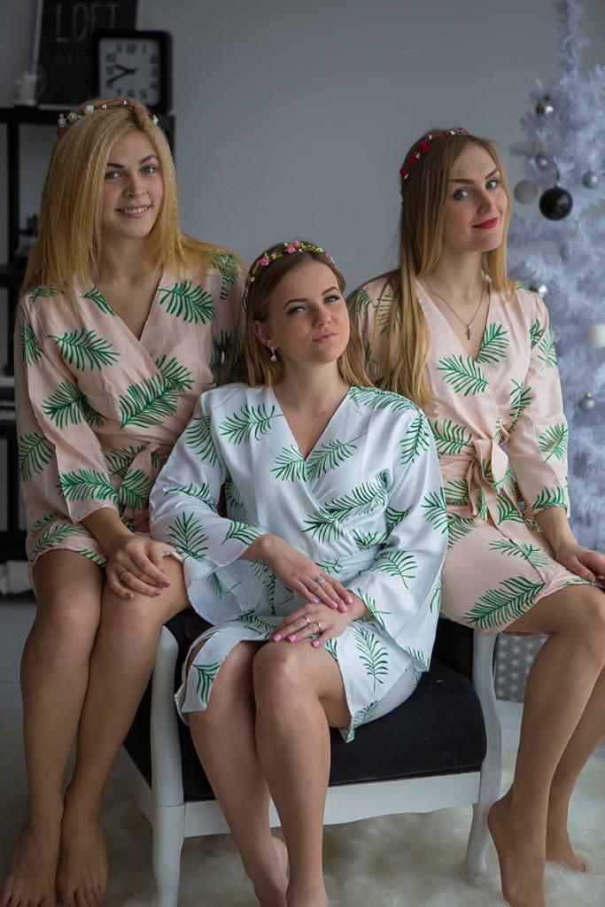 Tropical Delight Pattern- Premium Blush Bridesmaids Robes