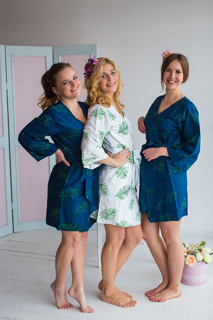 Tropical Delight Pattern- Premium Navy Blue Bridesmaids Robes