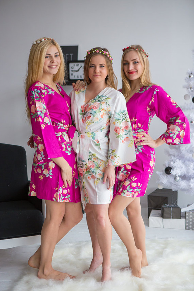 Dreamy Angel Song Pattern- Premium Radiant Orchid Bridesmaids Robes