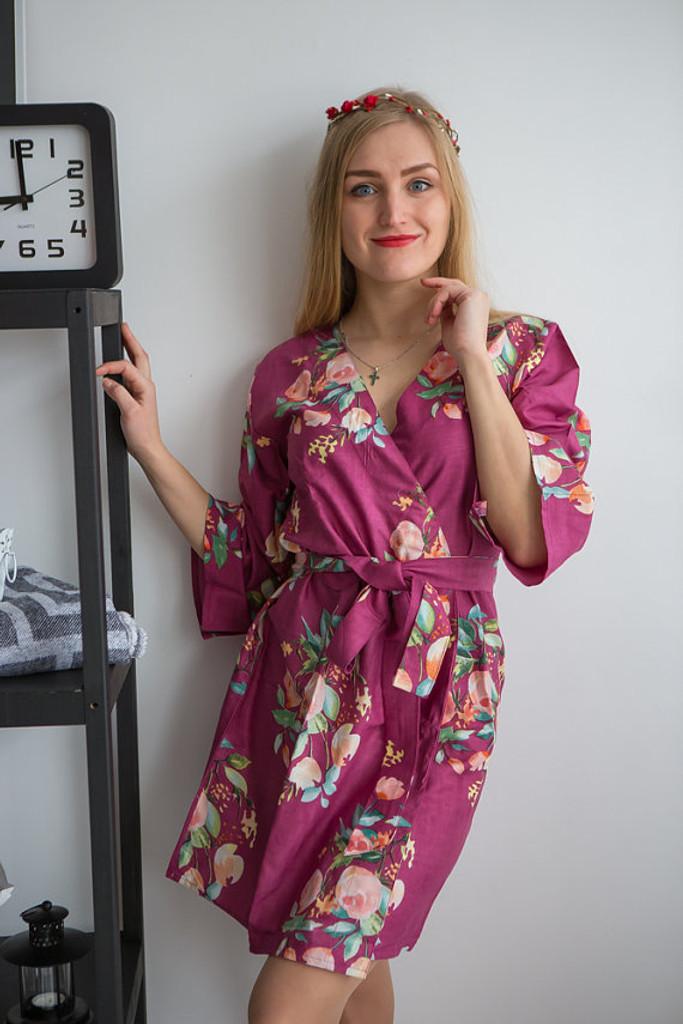 Dreamy Angel Song Pattern- Premium Plum Bridesmaids Robes