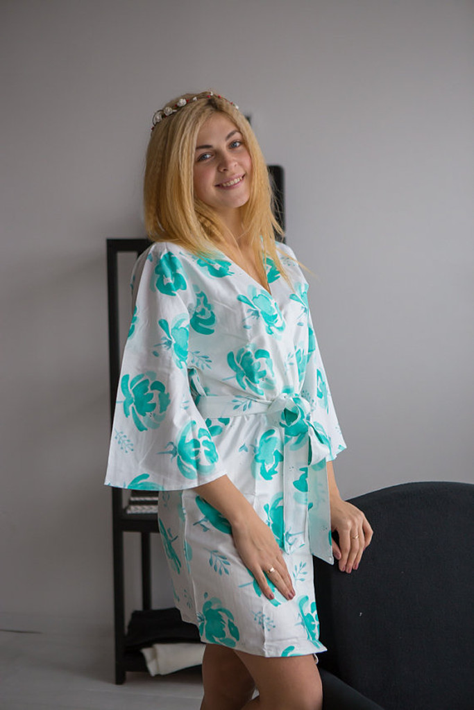 Blushing Flowers Pattern- Premium White Aqua Bridesmaids Robes