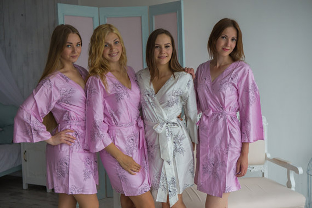 Floral Sketch Pattern- Premium Lilac Bridesmaids Robes