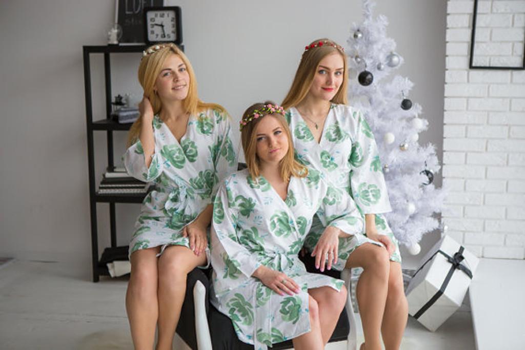 Blushing Flowers Pattern- Premium White Sage Bridesmaids Robes