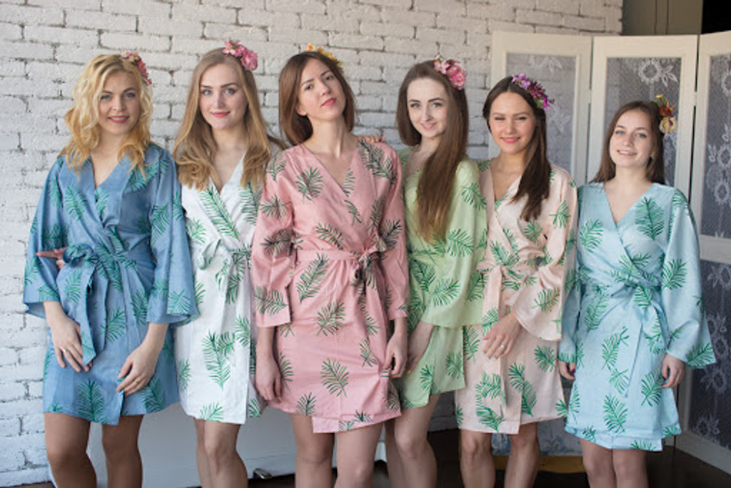 Tropical Delight Pattern- Premium Silver Bridesmaids Robes