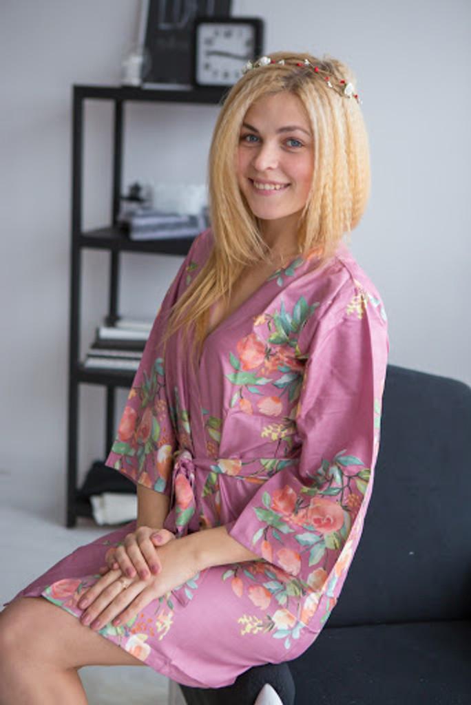 Dreamy Angel Song Pattern- Premium Mauve Bridesmaids Robes