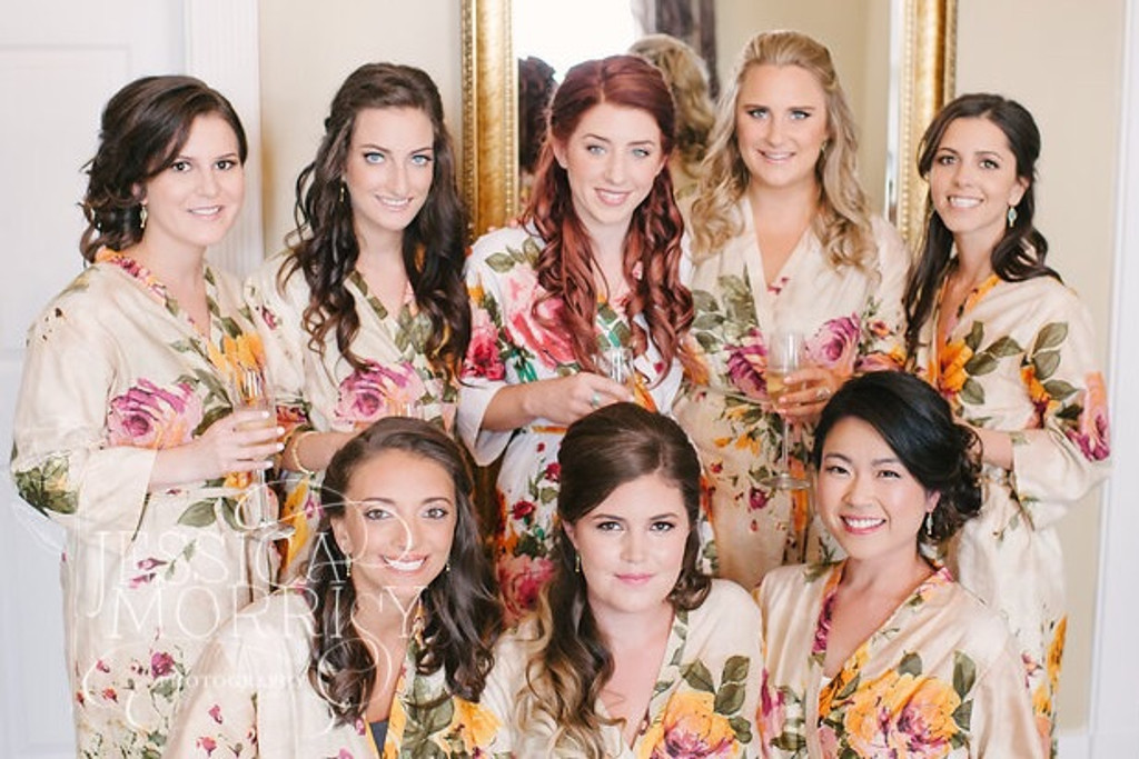 Cream Large Floral Blossom Robes for bridesmaids | Getting Ready Bridal Robes