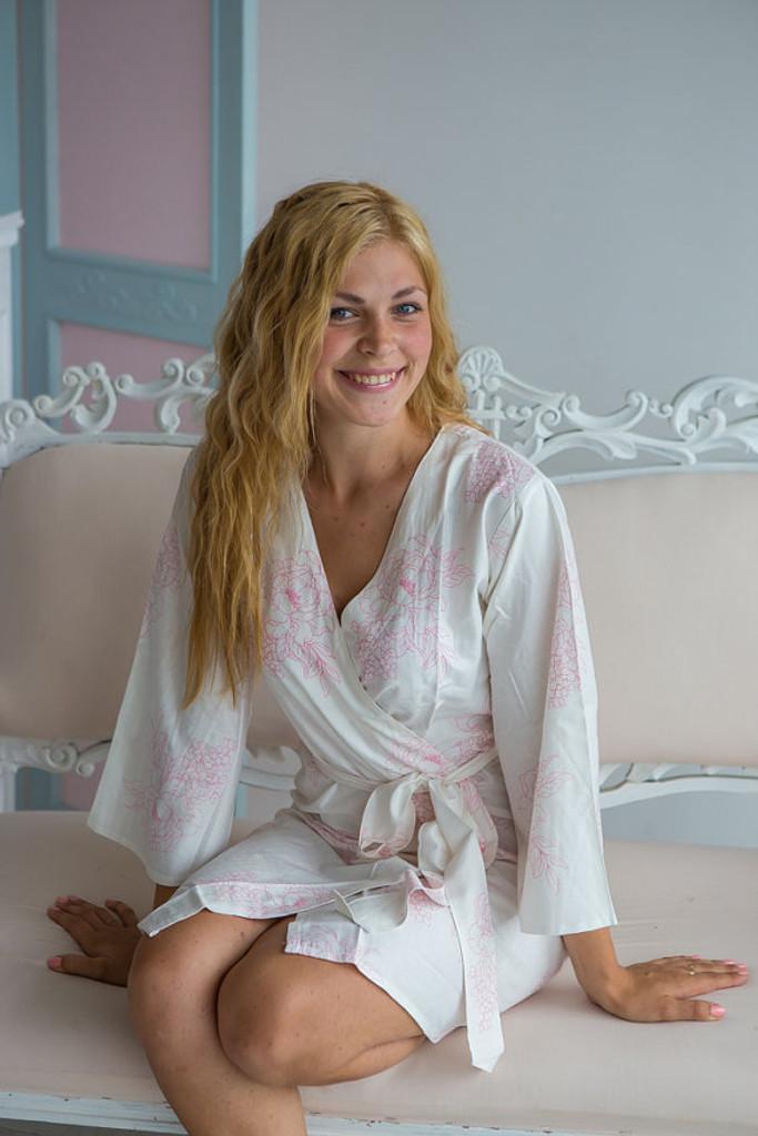 Floral Sketch Pattern- Premium White Pink Bridesmaids Robes