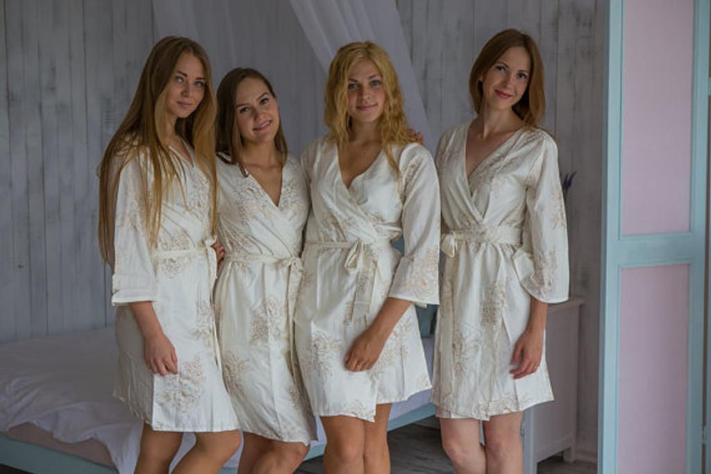 Floral Sketch Pattern- Premium White Gold Bridesmaids Robes