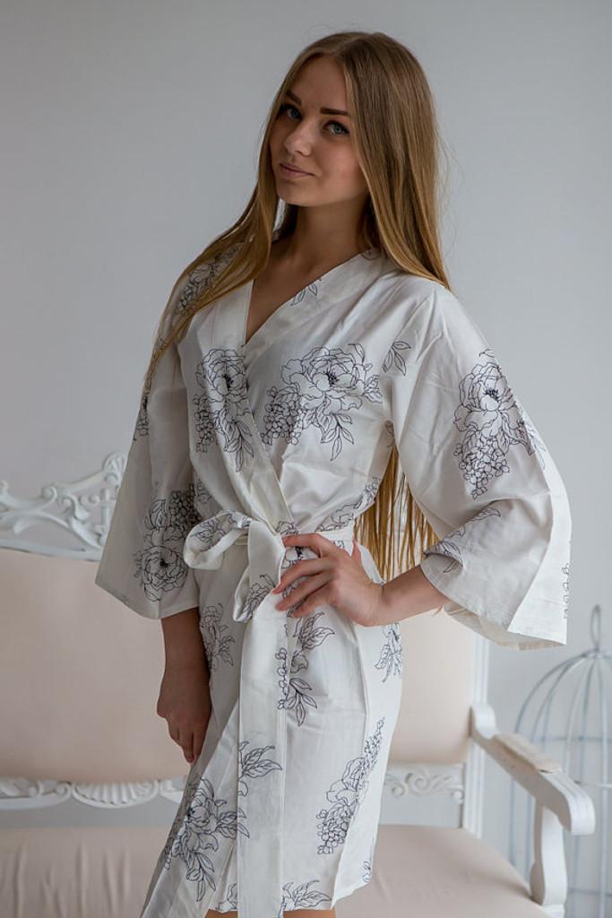 Floral Sketch Pattern- Premium White Bridesmaids Robes
