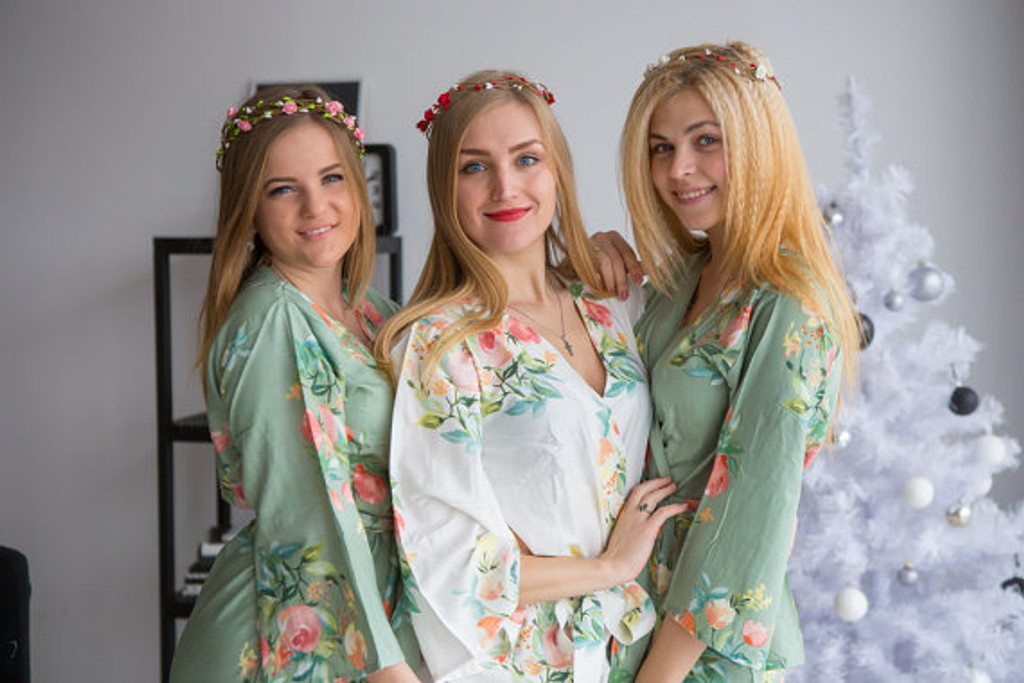 Dreamy Angel Song Pattern- Premium Grayed Jade Bridesmaids Robes