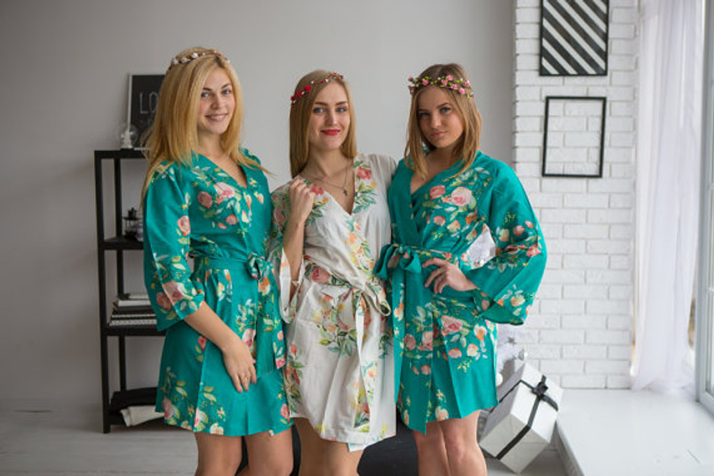 Dreamy Angel Song Pattern- Premium Teal Green Bridesmaids Robes