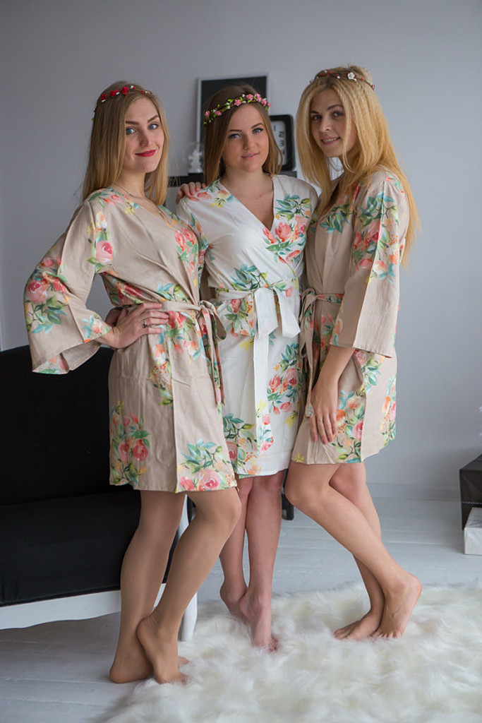 Dreamy Angel Song Pattern- Premium Champagne Bridesmaids Robes