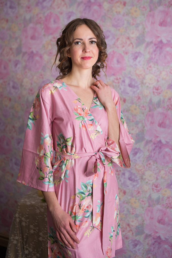 Dreamy Angel Song Pattern- Premium Dusty Pink  Bridesmaids Robes
