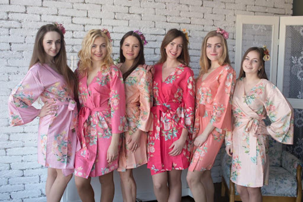 Dreamy Angel Song Pattern- Premium Watermelon Pink Bridesmaids Robes