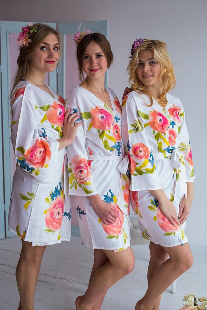 Smiling Blooms Pattern- Premium White Bridesmaids Robes
