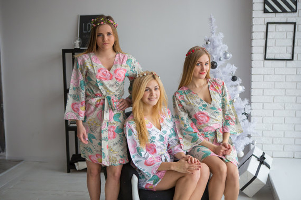 Whimsical Giggle Pattern- Premium Soft Sage Bridesmaids Robes