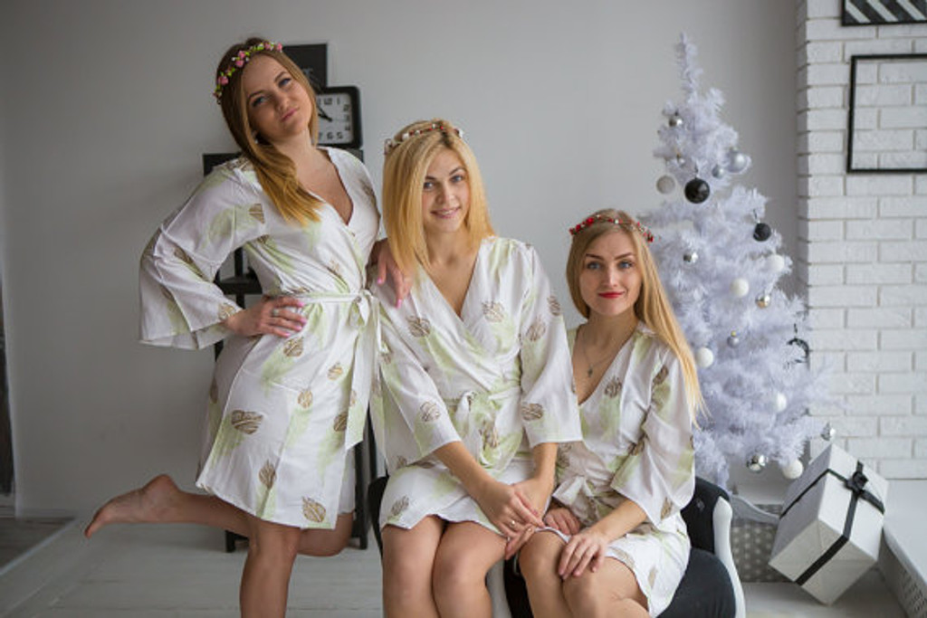 A feather rhyme Pattern- Premium Mint Gold Bridesmaids Robes
