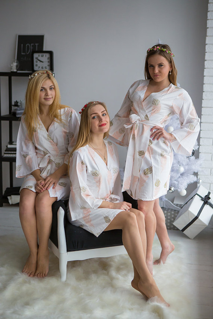 A feather rhyme Pattern- Premium Blush Gold Bridesmaids Robes