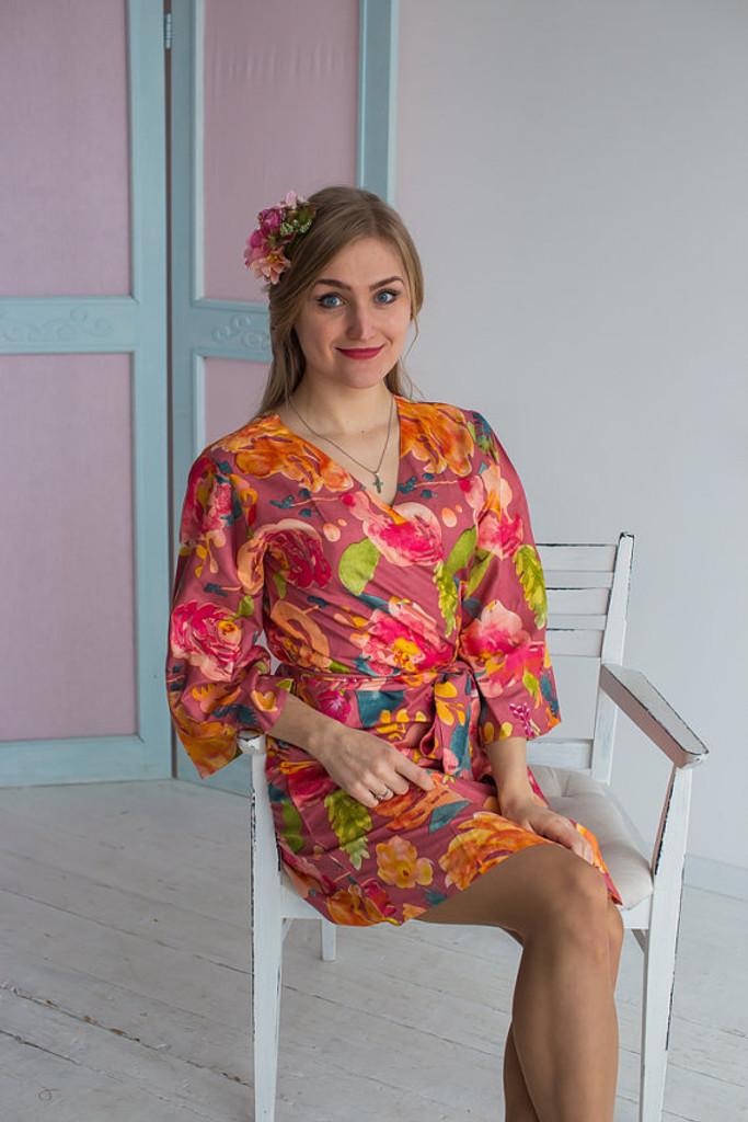 Her Petal Garden Pattern- Premium Dusty Rose Bridesmaids Robes