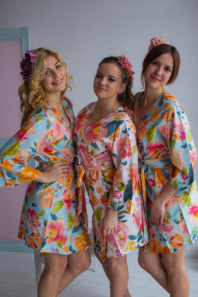 Her Petal Garden Pattern- Premium Light Blue Bridesmaids Robes
