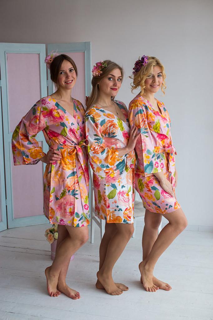 Her Petal Garden Pattern- Premium Lilac Pink Bridesmaids Robes