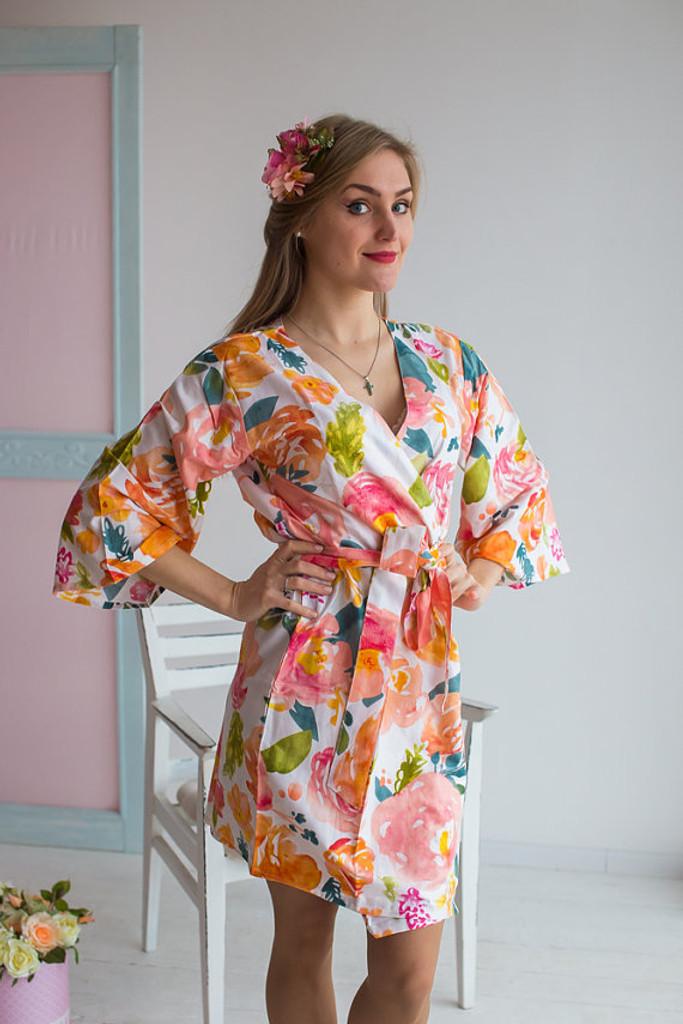 Her Petal Garden Pattern- Premium Coral Bridesmaids Robes