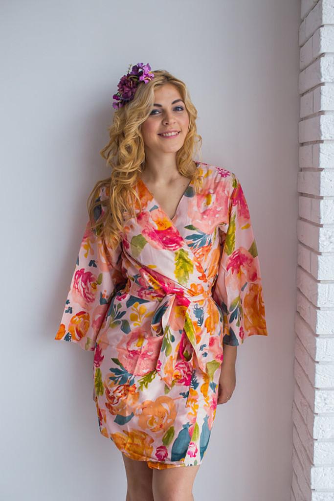 Her Petal Garden Pattern- Premium Blush Bridesmaids Robes