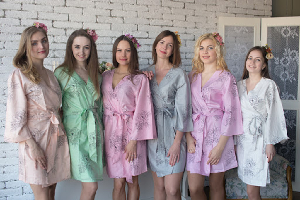 Premium Scalloped Trim Bridesmaids Robes - White Pink Floral Sketch