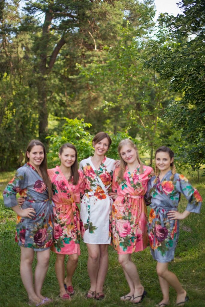 Coral and Gray Bridesmaids Robes