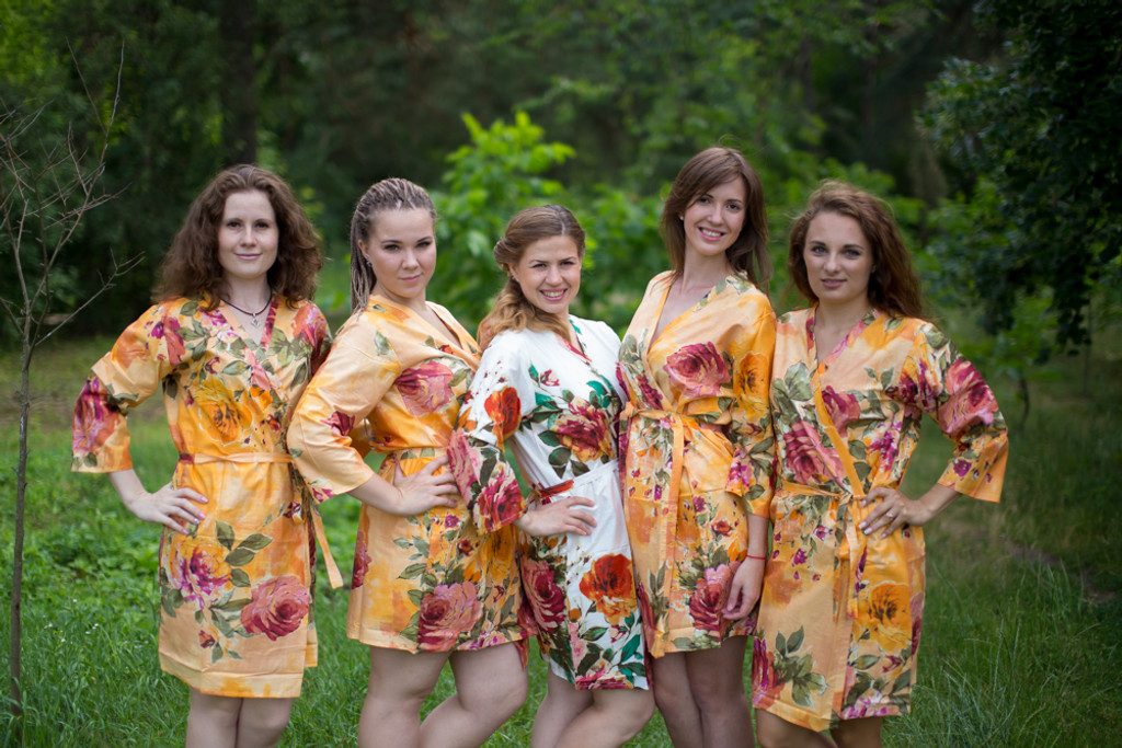 Peach Large Floral Blossom Robes for bridesmaids | Getting Ready Bridal Robes