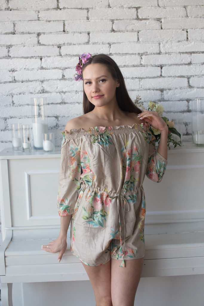 Dusty Tones Mismatched Bridesmaids Rompers in Dreamy Angel Song Pattern